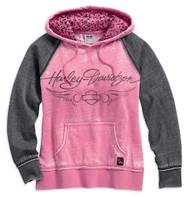 Harley-Davidson Women's Pink Label Leopard Accent Hoodie, Hot Pink 99129-17VW - Wisconsin Harley-Davidson