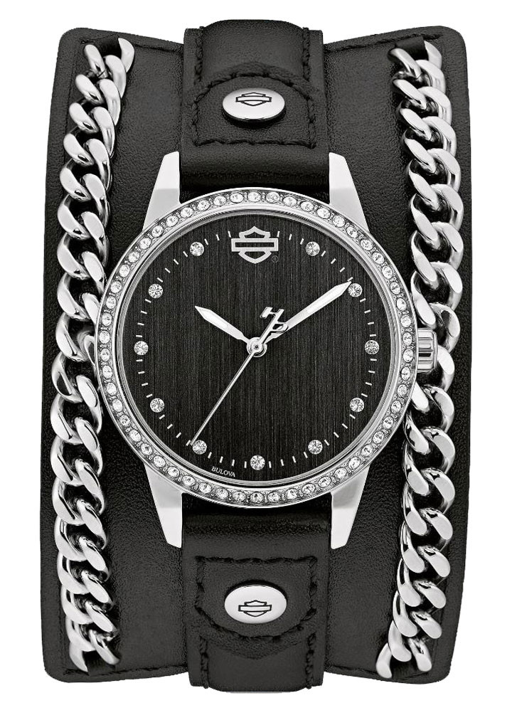 Harley-Davidson® Women s Crystal Leather Cuff w  Steel Chain Watch ... 51cfb9028334e