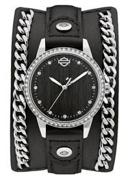 Harley-Davidson Women's Crystal Leather Cuff w/ Steel Chain Watch, Black 76L184 - Wisconsin Harley-Davidson