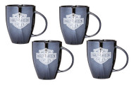 Harley-Davidson Bar & Shield Ceramic Coffee Mug, 18 oz Black - Set of 4 - Wisconsin Harley-Davidson