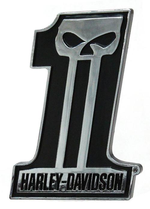 Harley-Davidson #1 Skull Dark Custom Chrome Injection Molded Emblem CG41507 - Wisconsin Harley-Davidson