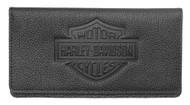Harley-Davidson Womens B&S Embossed Checkbook Cover, Black Leather ZWL4752-BLACK - Wisconsin Harley-Davidson