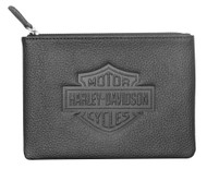 Harley-Davidson Women's B&S Embossed Zip Utility Coin Pouch, Black ZWL4761-BLACK - Wisconsin Harley-Davidson