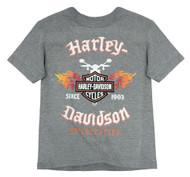Harley-Davidson Little Boys' Flames & Shield Short Sleeve Tee, Gray 1580665 - Wisconsin Harley-Davidson