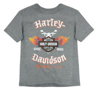 Harley-Davidson Little Boys' Flames & Shield Short Sleeve Tee, Gray 1580665 - Wisconsin Harley-Davidson