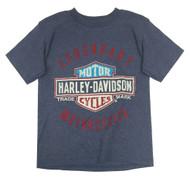 Harley-Davidson Little Boys' Legendary Short Sleeve Tee, Denim Heather 1580685 - Wisconsin Harley-Davidson