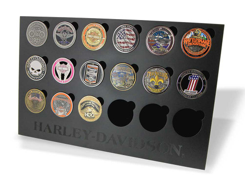 Harley-Davidson Collectors Coin Display Stand, Holds 18 Coins, Black 8003500 - Wisconsin Harley-Davidson