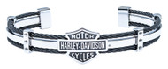 Harley-Davidson Men's Bar & Shield Steel Cable Cuff Bracelet, Silver HSB0069 - Wisconsin Harley-Davidson