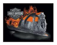 Harley-Davidson Embossed Firefighter Helmet Tin Sign, 17 x 13 inches 2011251 - Wisconsin Harley-Davidson