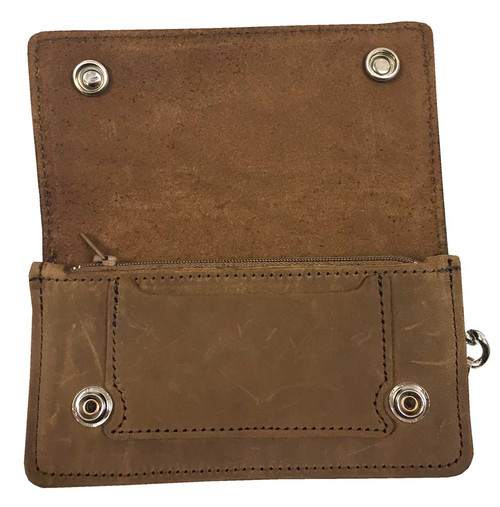 Biker Men's 6 in Chain Wallet w/ Buffalo Snaps, Genuine Brown Leather PUB500 - Wisconsin Harley-Davidson