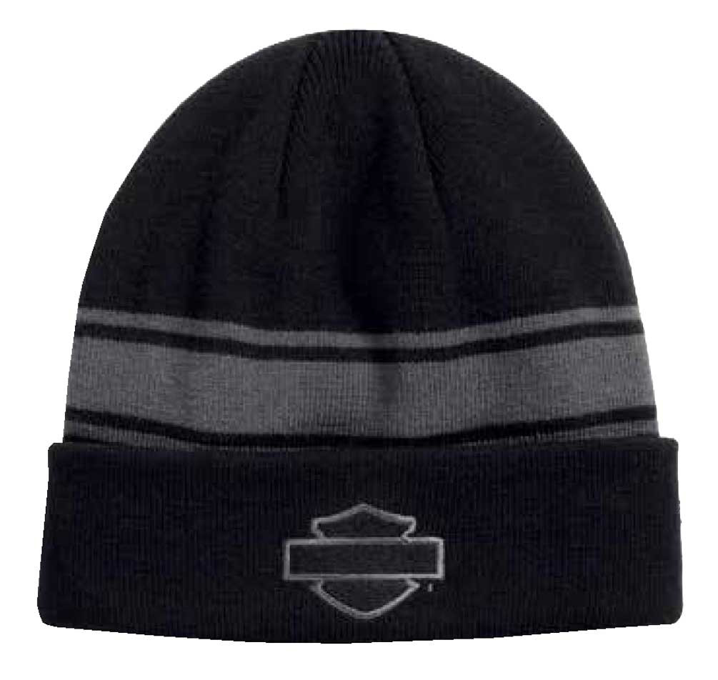 0d46a2df349029 Harley-Davidson Men's Bar & Shield Logo Cuffed Knit Beanie Hat, Black 97639-