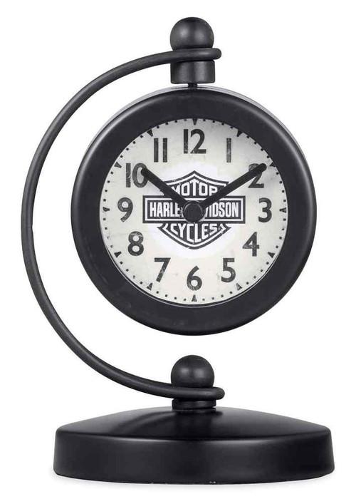 Harley-Davidson Bar & Shield Logo Swivel Clock w/ Metal Stand, Black 96834-17V - Wisconsin Harley-Davidson