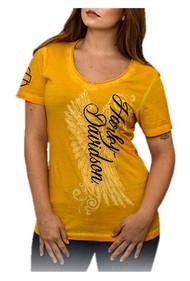 Harley-Davidson Women's Road Diva Notched V-Neck Short Sleeve Tee, Yellow - Wisconsin Harley-Davidson