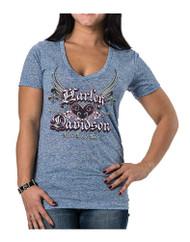 Harley-Davidson Women's Unite Winged Heart Short Sleeve Tee, Blueberry Blue - Wisconsin Harley-Davidson