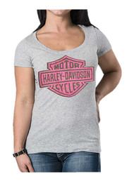 Harley-Davidson Women's Studded Lace Bar & Shield Short Sleeve Tee, Heather Gray - Wisconsin Harley-Davidson