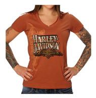 Harley-Davidson Women's Embellished Topaz Sunset Notched V-Neck Tee, Orange - Wisconsin Harley-Davidson