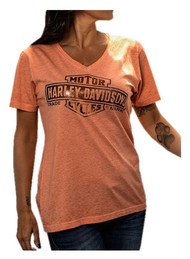 Harley-Davidson Women's Foiled Bar & Shield V-Neck Short Sleeve Tee, Coral - Wisconsin Harley-Davidson