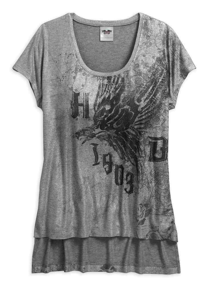 4d634b817fb75 Harley-Davidson® Womens Metallic Print High-Low Short Sleeve Tee, Gray  96055-17VW