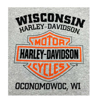 Harley-Davidson Men's Bar & Shield Logo Pullover Hooded Sweatshirt, Gray - Wisconsin Harley-Davidson