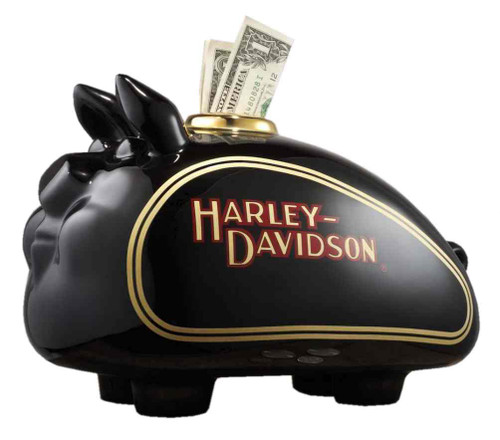 Harley-Davidson Decal HOG Piggy Bank, Black Glazed Ceramic Finish 99218-16V - Wisconsin Harley-Davidson