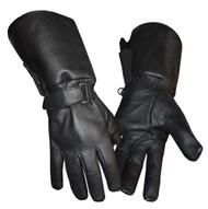 Redline Men's Gauntlet Style Soft Fleece Lining Leather Gloves, Black G-053 - Wisconsin Harley-Davidson