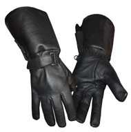 Redline Men's Gauntlet Style Soft Fleece Lining Leather Gloves, Black G-053 - Wisconsin Harley-Davidson