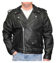 ad1aa9c423b Redline Men s Classic Biker Style Side Lace Leather Motorcycle Jacket M-800