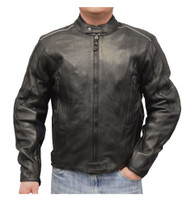 Redline Men's Cowhide Leather Reflective Piping Jacket, Black & White M-TOURING - Wisconsin Harley-Davidson