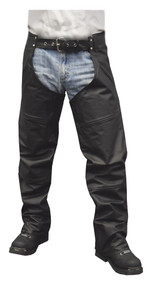 Redline Men's Classic Premium Cowhide Leather Motorcycle Chaps, Black M-1400 - Wisconsin Harley-Davidson