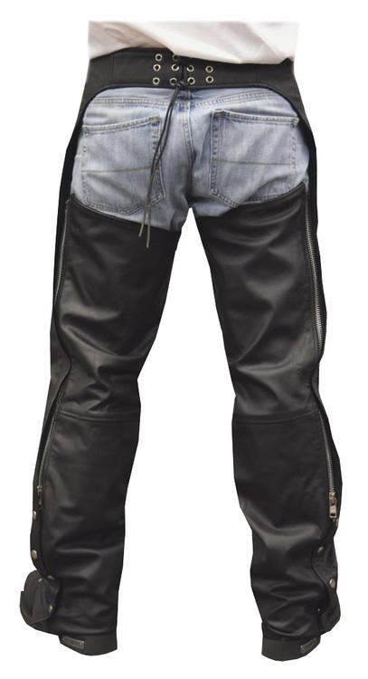 Redline Men's Classic Premium Cowhide Leather Motorcycle Chaps, Black M-1400 - Wisconsin Harley-Davidson