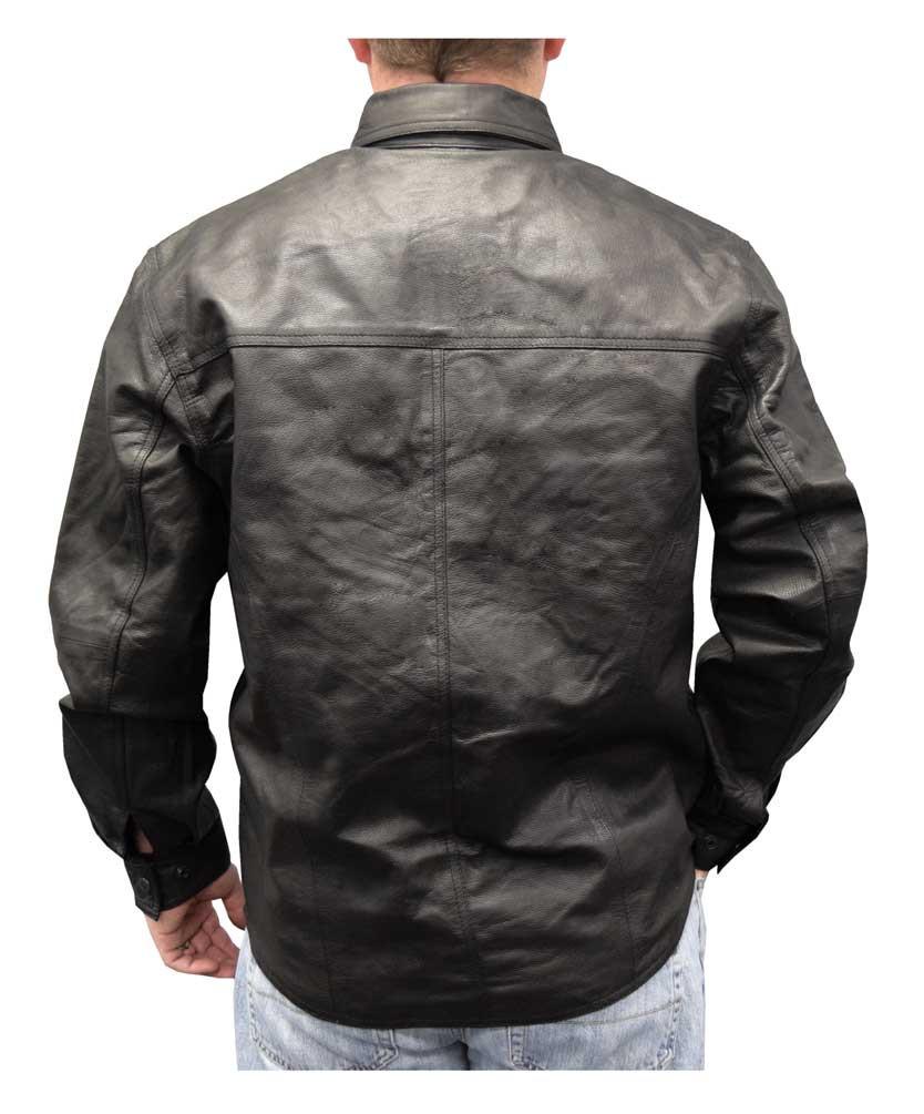 05097f68c Redline Men's Lightweight Snap Down Collar Leather Riding Shirt, Black  M-1800