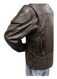Redline Men's Leather Touring Side-Lace Motorcycle Jacket, Brown M-400-BROWN - Wisconsin Harley-Davidson