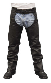 Redline Men's Classic Black Naked Leather Motorcycle Fully Lined Chaps M-1750 - Wisconsin Harley-Davidson