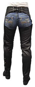 Redline Women's Classic Cut Goat Leather Motorcycle Chap Pant, Black L-3800 - Wisconsin Harley-Davidson