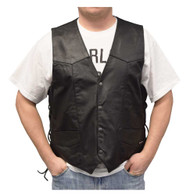 Redline Leather Men's Buffalo Milled Leather Motorcycle Vest, Black M-125 - Wisconsin Harley-Davidson