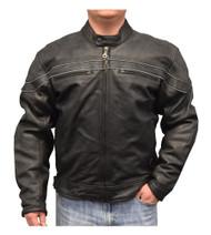Redline Men's Reflective Piping Zip Front Leather Motorcycle Jacket, Black M-88 - Wisconsin Harley-Davidson