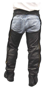 Redline Mens Goat Skin Leather Motorcycle Chaps w/ Snap-Out Gator Liner M-1700GS - Wisconsin Harley-Davidson