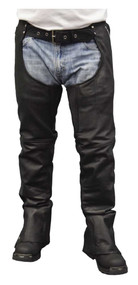 Redline Men's Classic Black Removable Liner Leather Motorcycle Chaps M-1650 - Wisconsin Harley-Davidson