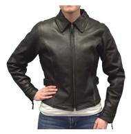 Redline Women's Goat Leather Black Reflective Piping Motorcycle Jacket L-3250BR - Wisconsin Harley-Davidson