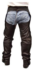 Redline Men's Classic Premium Goat Skin Leather Motorcycle Chaps M-1710-BROWN - Wisconsin Harley-Davidson