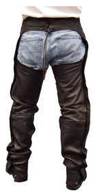 Redline Men's Classic Premium Goat Skin Leather Motorcycle Chaps M-1710-BROWN - Wisconsin Harley-Davidson