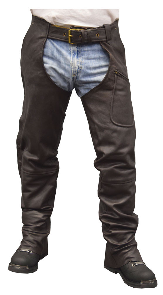 Redline Men's Classic Premium Goat Skin Leather Motorcycle Chaps  M-1710-BROWN