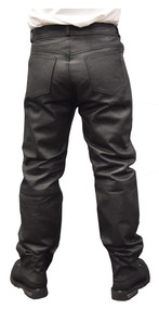 Redline Mens Classic Black Easy Fit Leather Motorcycle Fully Lined Pants M-1500 - Wisconsin Harley-Davidson