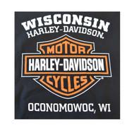 Harley-Davidson Mens Bar & Shield Long Sleeve Crew Neck Fleece Sweatshirt, Black - Wisconsin Harley-Davidson