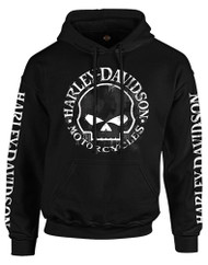 Harley-Davidson Men's Hand Made Willie G Skull Pullover Hooded Sweatshirt, Black - Wisconsin Harley-Davidson