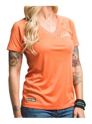 Harley-Davidson Womens Performance Vital Force Short Sleeve Tee, Coral H626-HB7V - Wisconsin Harley-Davidson