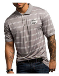 Harley-Davidson Men's Performance Striped Short Sleeve Polo, Gray H013-HD32 - Wisconsin Harley-Davidson