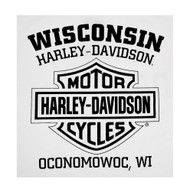 Harley-Davidson Men's Vintage Whitewall Sleeveless Muscle Tee, Solid White - Wisconsin Harley-Davidson