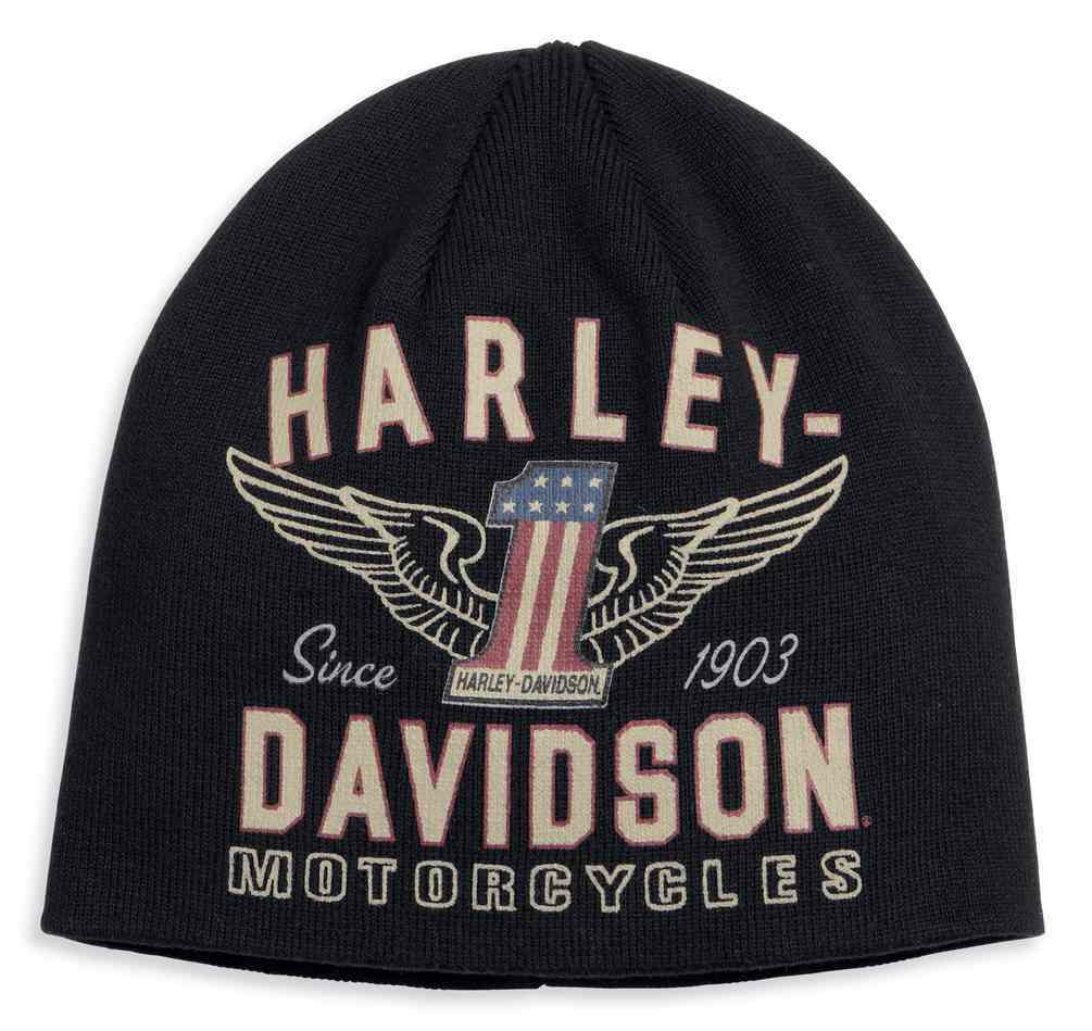 d9872b87b Harley-Davidson® Men's Winged #1 Graphic Knit Beanie Hat, Black 99488-17VM