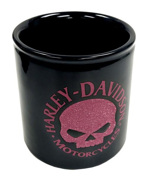 Harley-Davidson Beaded Willie G Skull Ceramic Cup, Pink & Black HD-HD-1440 - Wisconsin Harley-Davidson